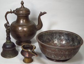 Group of Middle Eastern Brass Wares, 19th C.