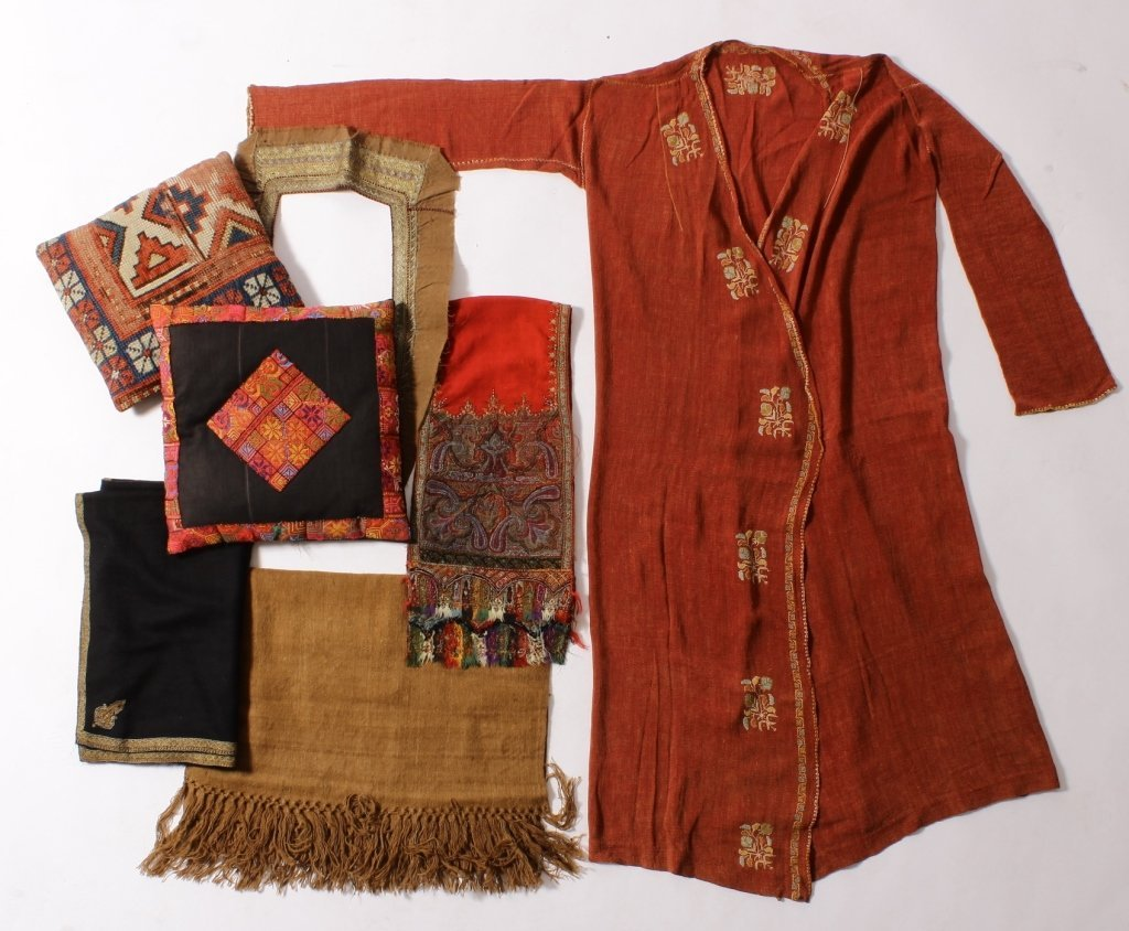 Group of Kashmiri items: shawls, caftan, et al.