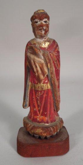 Carved, polychromed Tibetan Altar figure