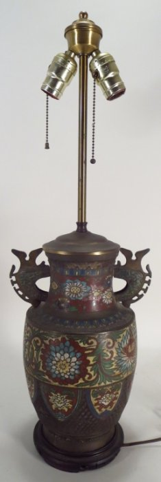 Chinese Cloisonne Vase Mounted as Lamp, 19th C.