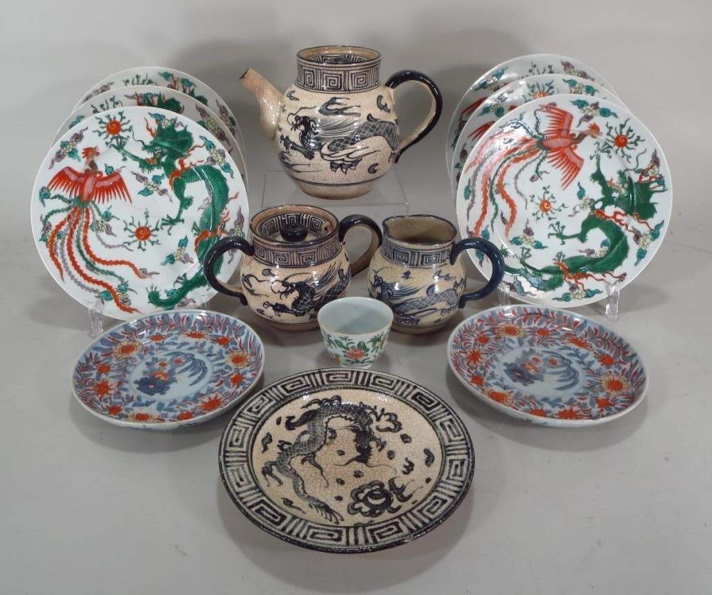 Qing Famille Vert Dragon Plates, c. 1900