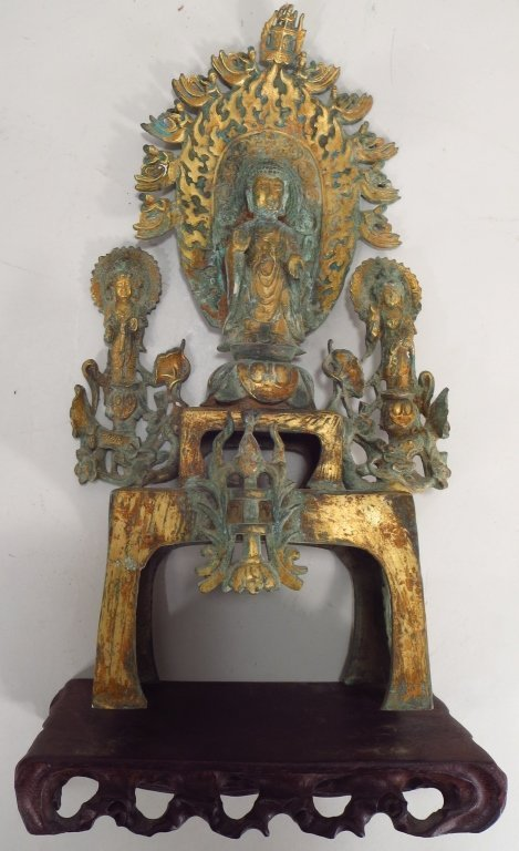 Japanese Gilt Bronze Shrine, Buddha/Attendants