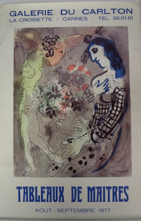 Chagall, 1977 Exhibition Color Poster