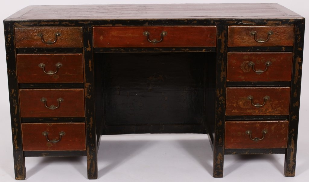 Tibetan Lacquered, Paint Decorated Kneehole Desk