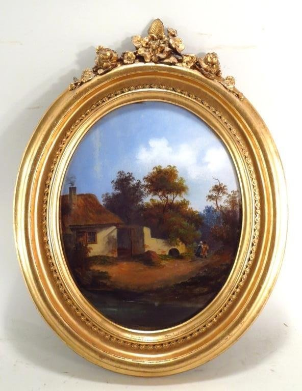 Oval Eglomise Landscape Painting, 19th/20th C.