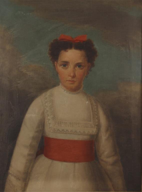 European Sch.,19th C.,Portrait of Young Girl, o/c
