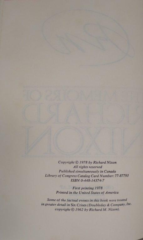 Signed Copy of Memoirs of Richard Nixon - 4