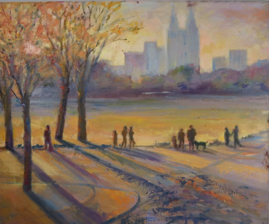 S. Rubel. Central Park in Autumn, Oil on Canvas