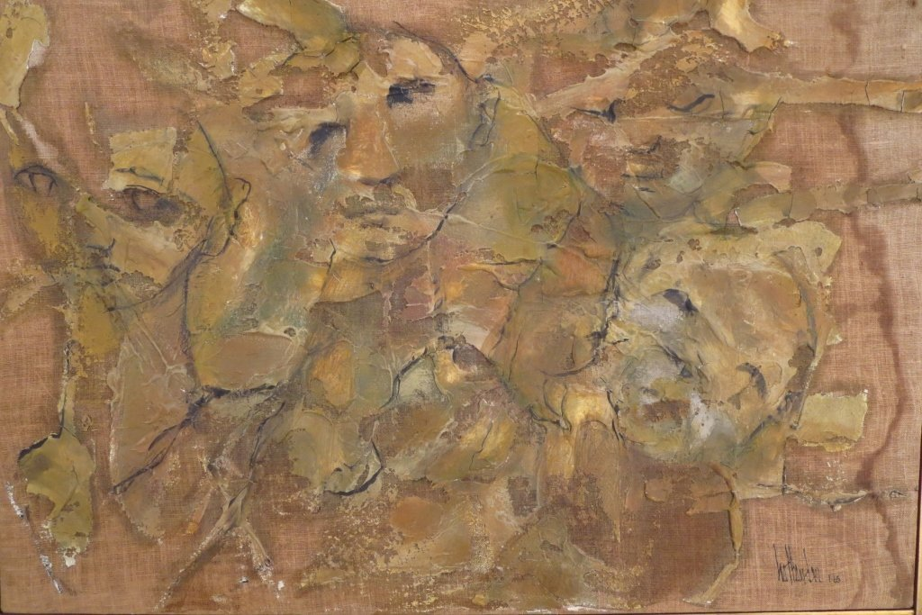 Gino Hollander,Am., Figural Abstract, o/c,signed