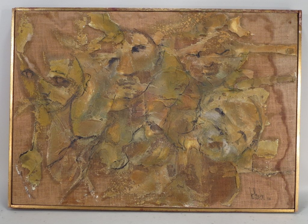 Gino Hollander,Am., Figural Abstract, o/c,signed - 2