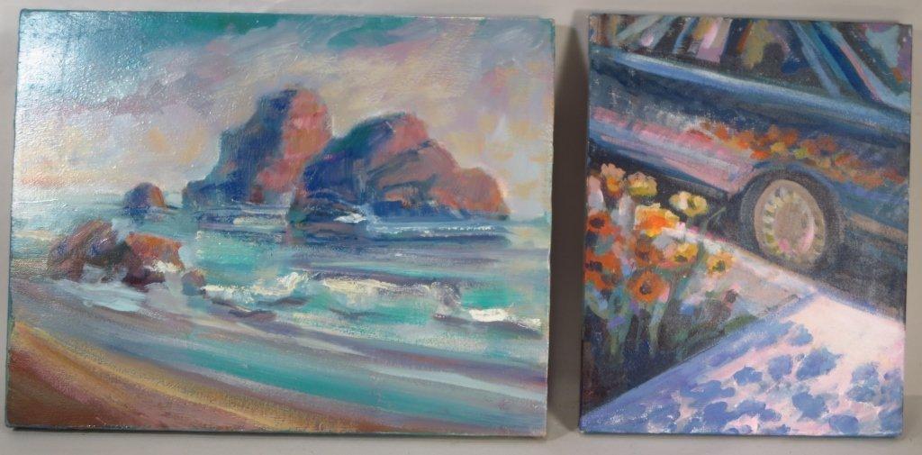 S. Rubel, Roadside Flowers and Seascape, O/C