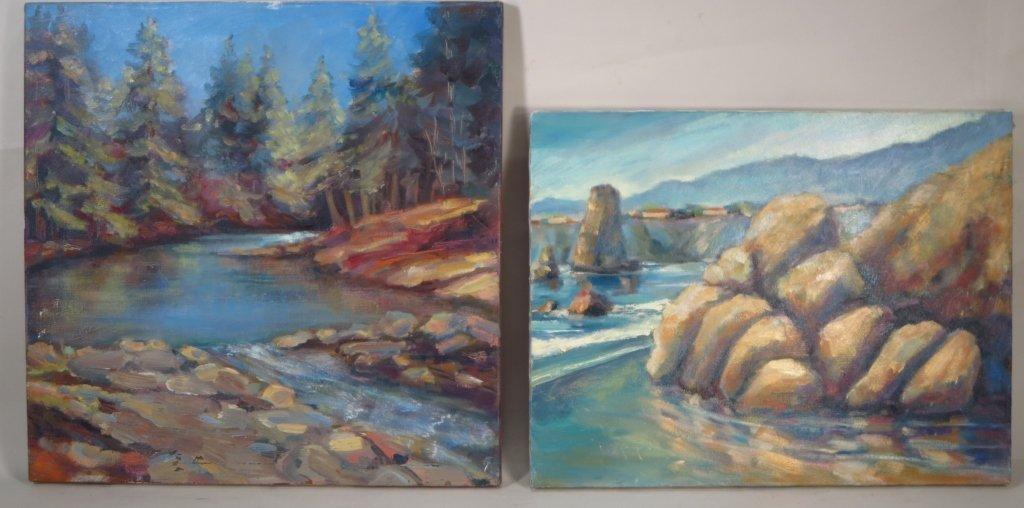 S. Rubel, Two Coastline Views, Oil on Canvas
