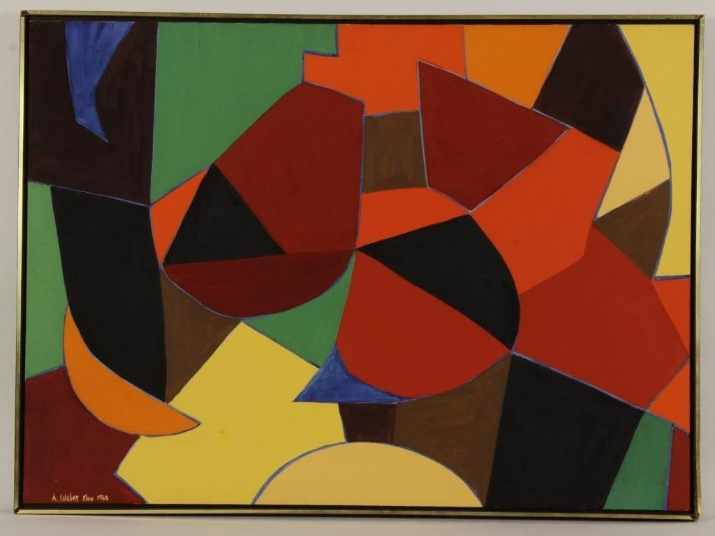 A. Weber, O/C, Abstract in Orange & Red