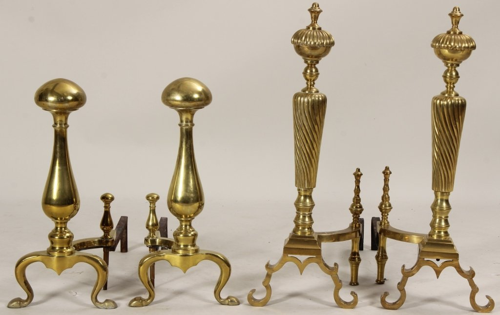 2 Pairs of Large Andirons, 19th C.