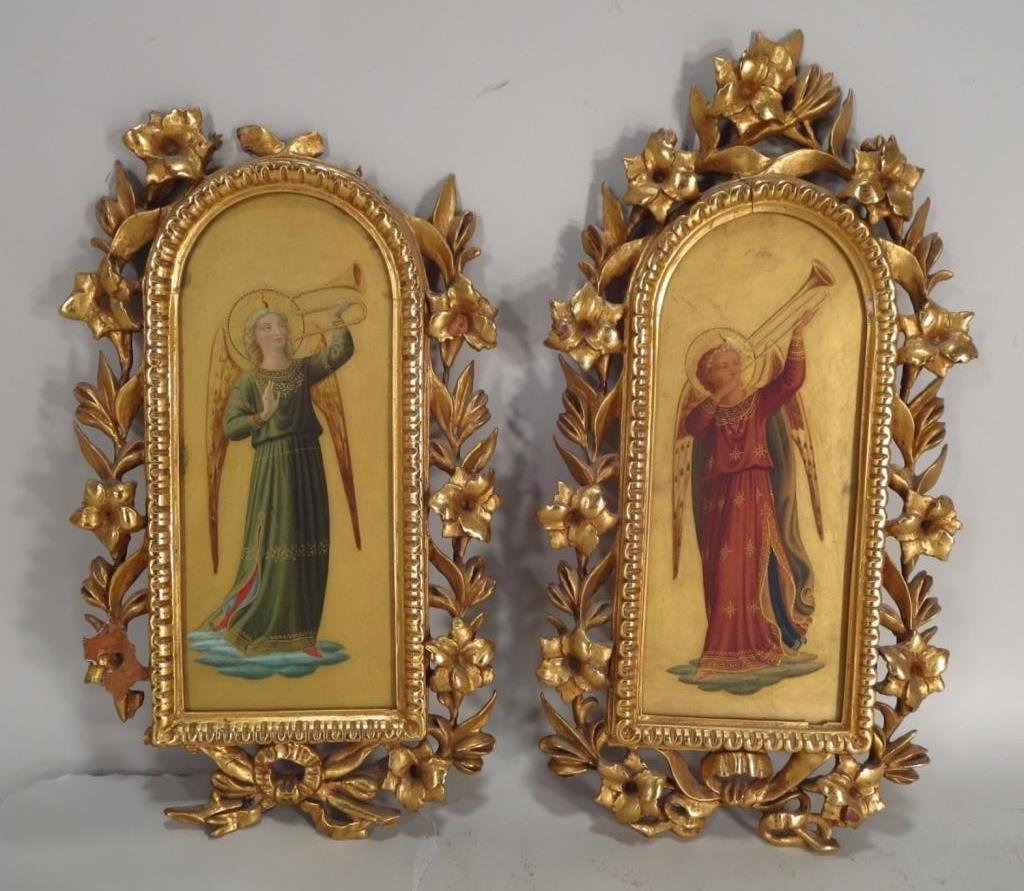 "Pr Renaissance Style ""Gold Ground"" Ptgs of Angels"