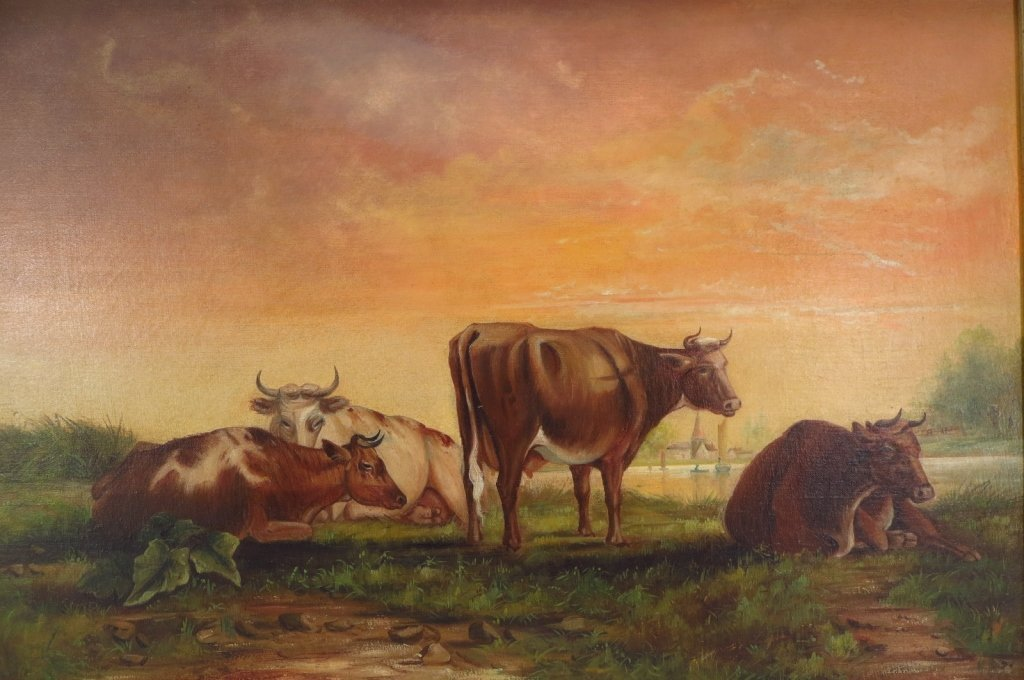 Cows in a Sunset Landscape, O/C