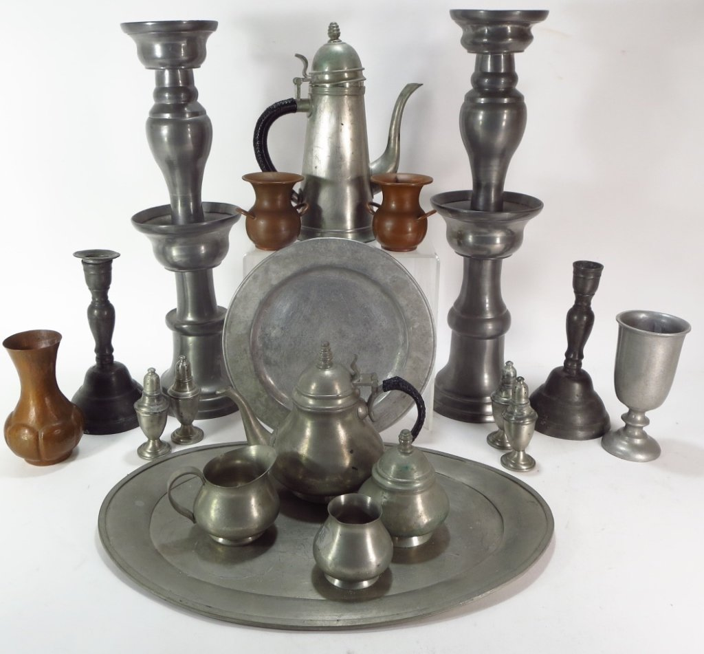 Nineteen Pewter and Copper Items