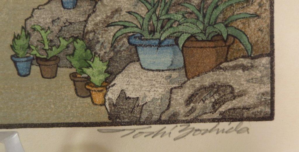 """Toshi Yoshida, """"Stone Lanterns"""", Wood Block Print - 4"""