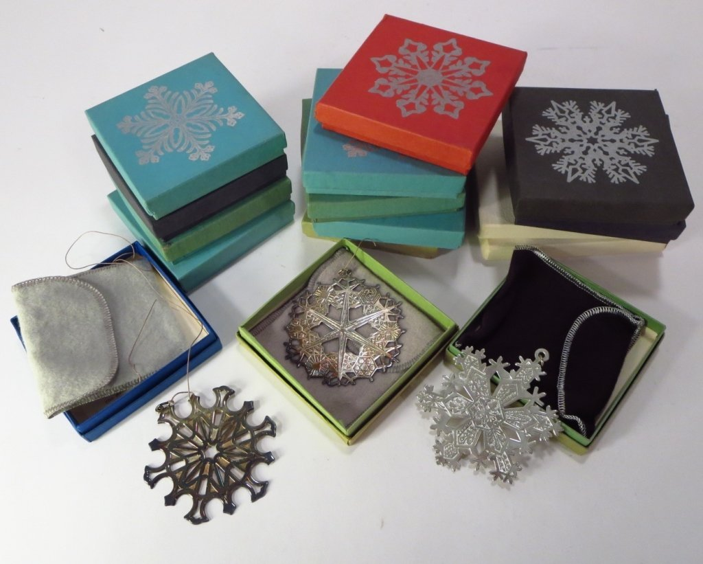 16 Sterling Silver and Silverplate Snowflakes