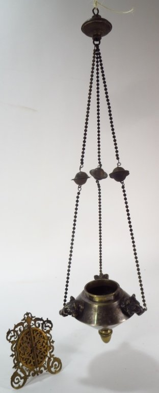 Bronze Oil Lamp and Brass Frame
