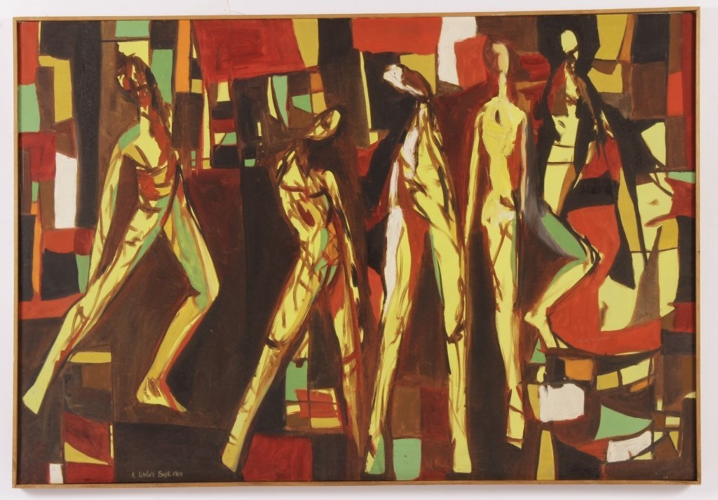 Arnold Weber, Am., 5 Figures in Yellow, O/C