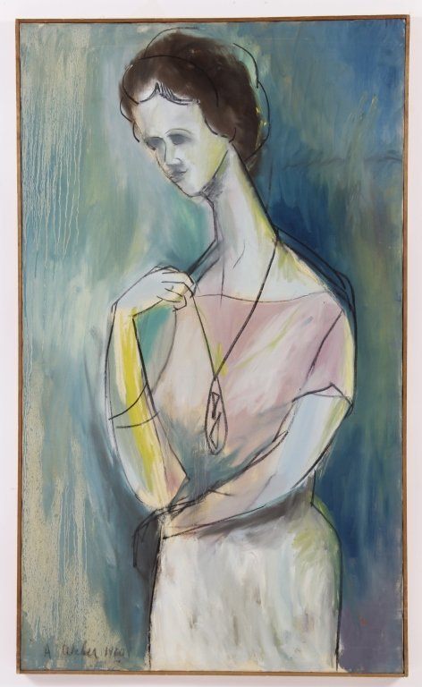 Arnold Weber, Am., Abstract Portrait of Woman, O/C