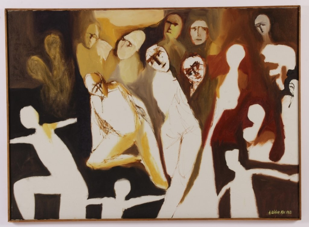 Arnold Weber, Am., Abstract Figures in White, O/C