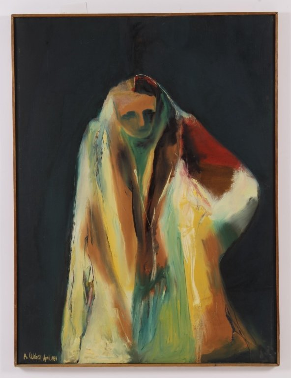 Arnold Weber, Am., Abstract Figure in Coat, O/C