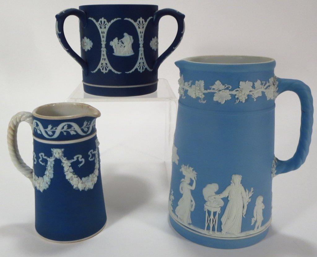 Three Pieces of Jasperware, 19th C.