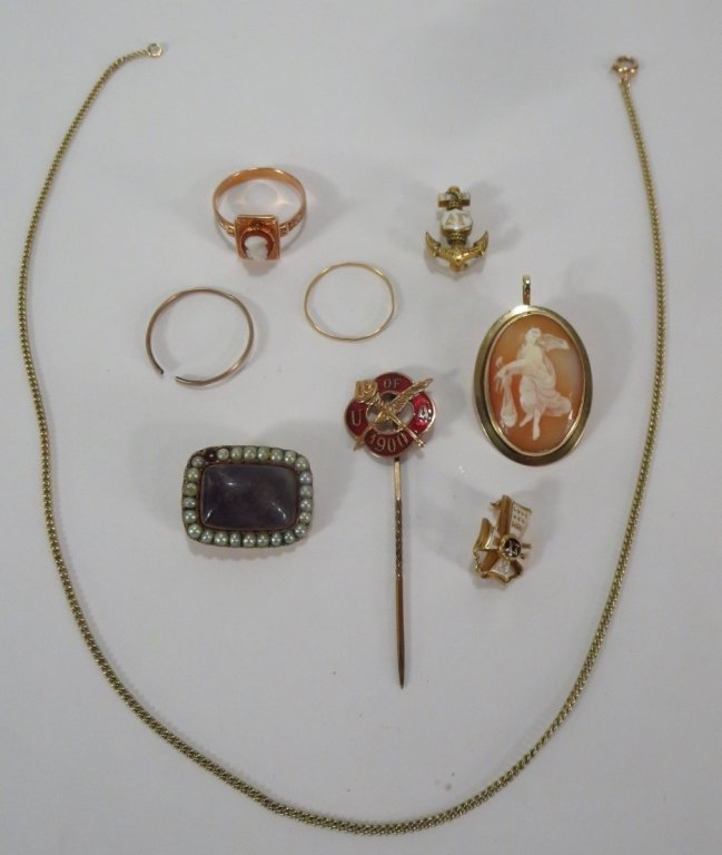 19th C. Irish Hair Brooch and Other Gold Items