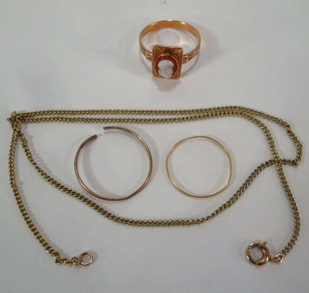 19th C. Irish Hair Brooch and Other Gold Items - 2