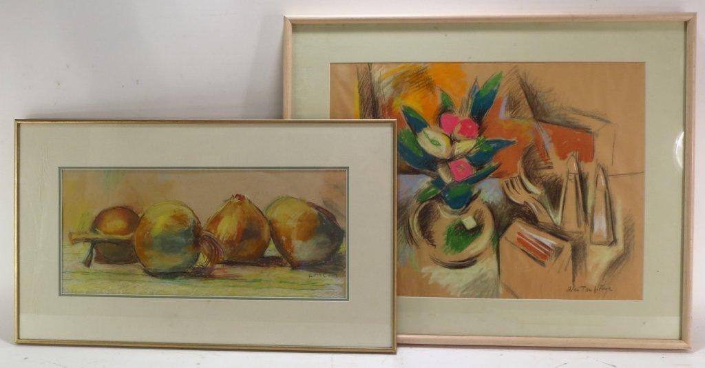 Lot of 2 Still-Life Pastels, signed, 20th C.