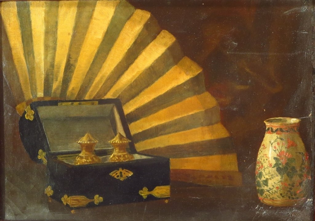 American School, c. 1900, Still Life with Fan, O/C