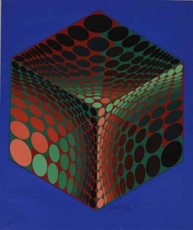 Vasarely, Fr., Orange & Green Cube, serigraph