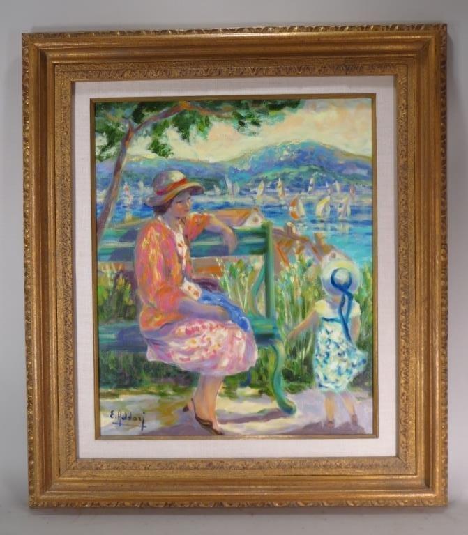 Elayne Addari, b.1936,Viewing Harbor,O/C