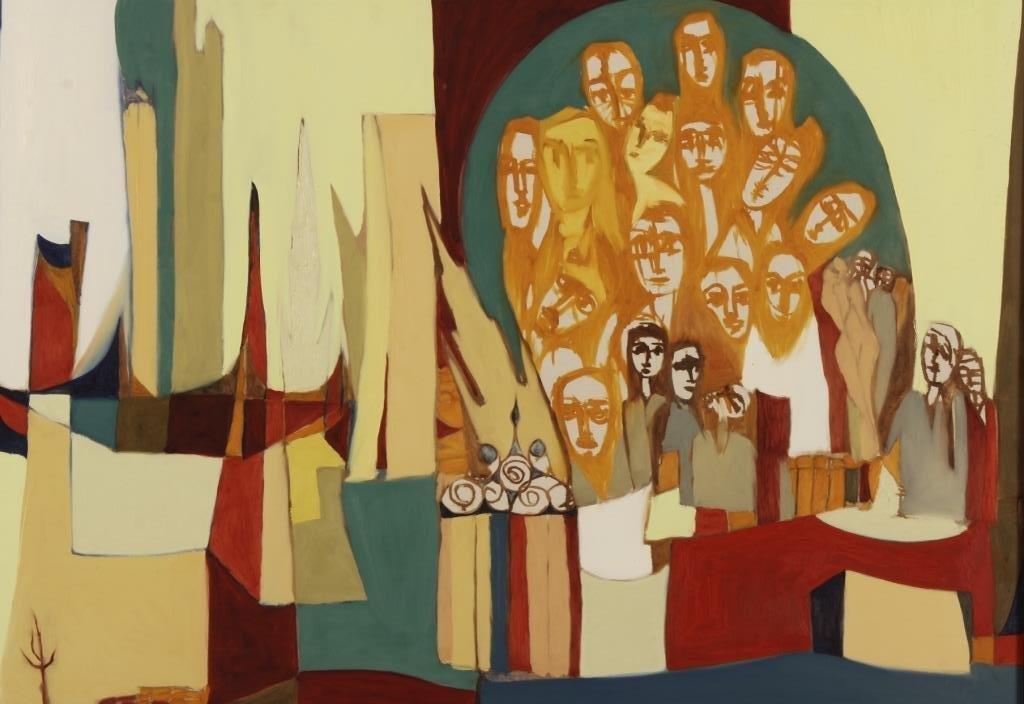 Arnold Weber, 1931- 2010, Orange Faces.