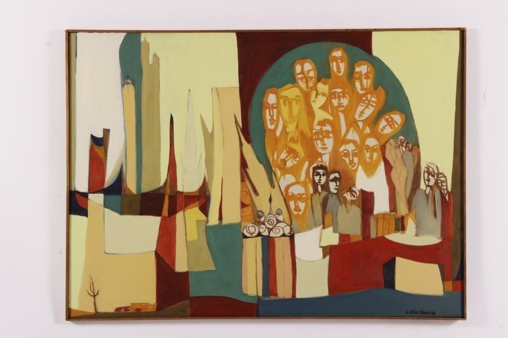 Arnold Weber, 1931- 2010, Orange Faces. - 2