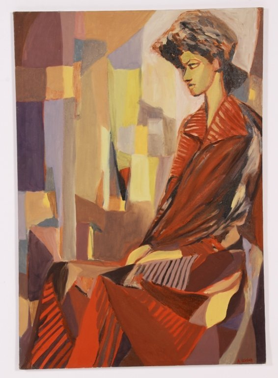 Arnold Weber, Am., 1931-2010, Woman in Red, O/C