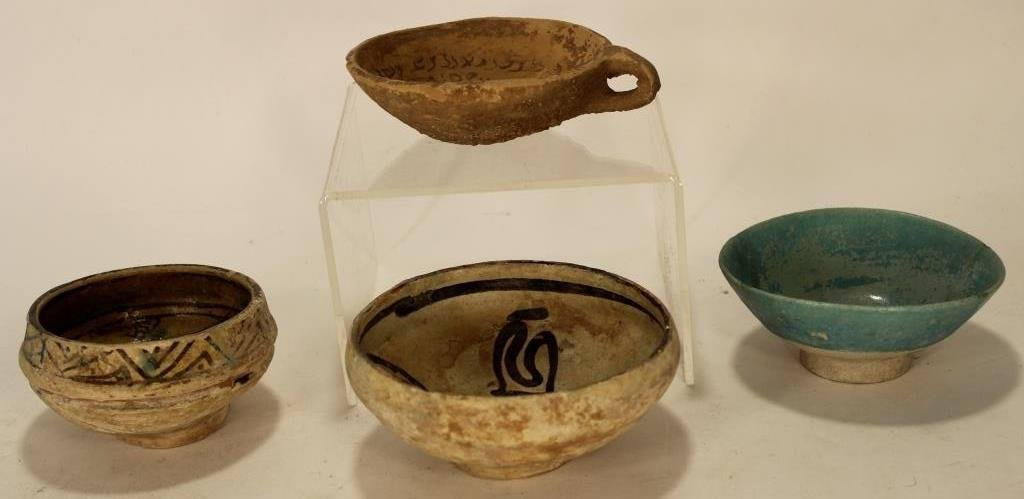 4 Persian Pottery Bowls, Nishapur & Devil's Trap