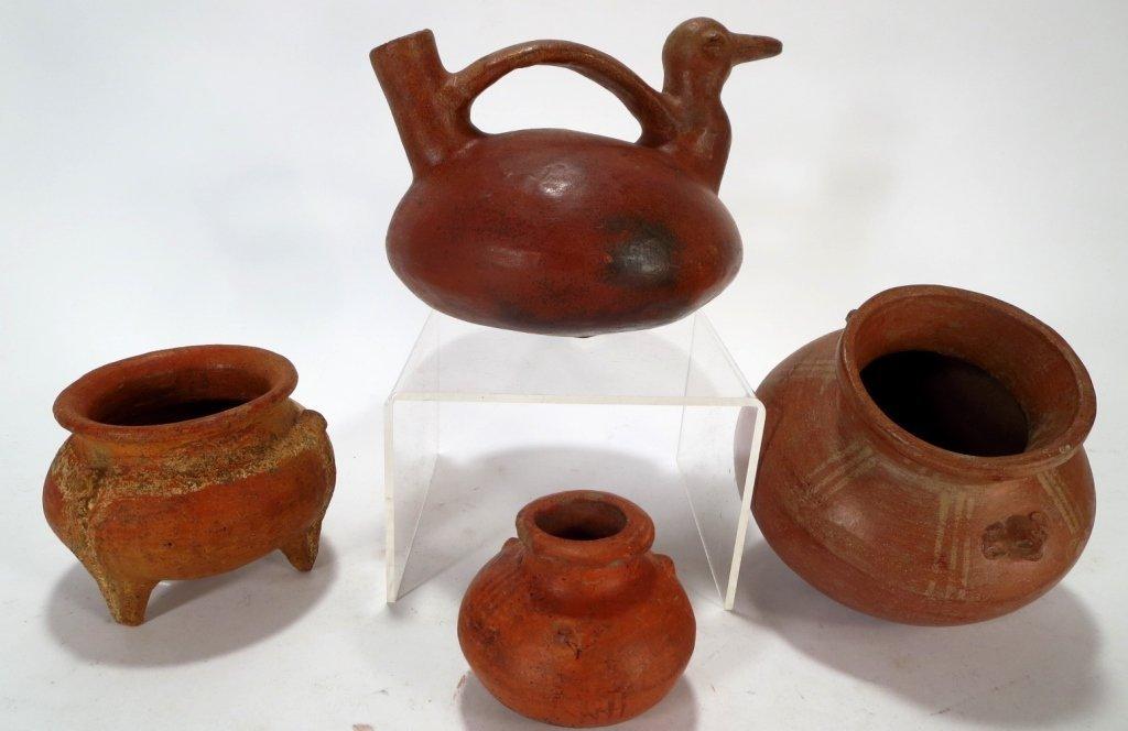 4 Precolumbian Pottery Vessels, c.6-900 A.D.