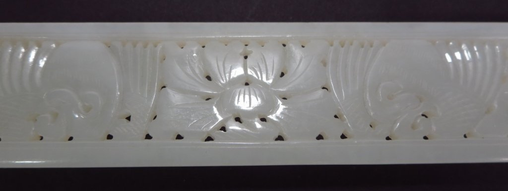 Chinese Pierced White Jade Page Turner - 4