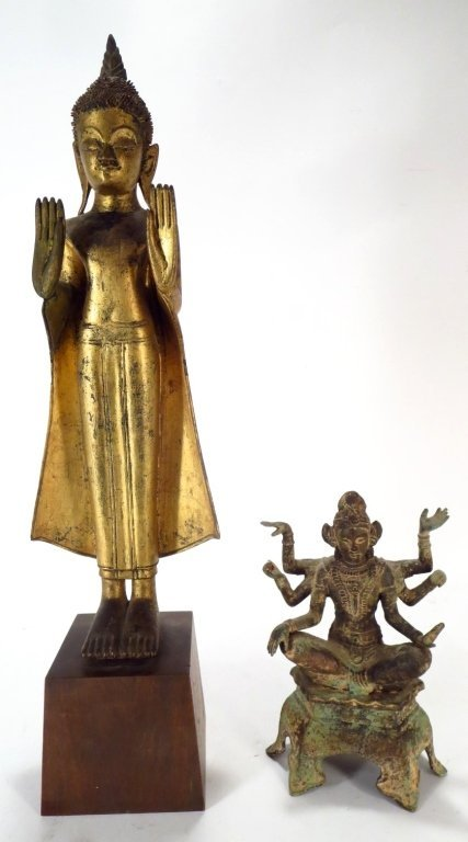 Lot of 2 Sculptures: Thai Buddha & Shiva 20th C.