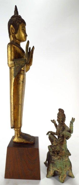 Lot of 2 Sculptures: Thai Buddha & Shiva 20th C. - 2
