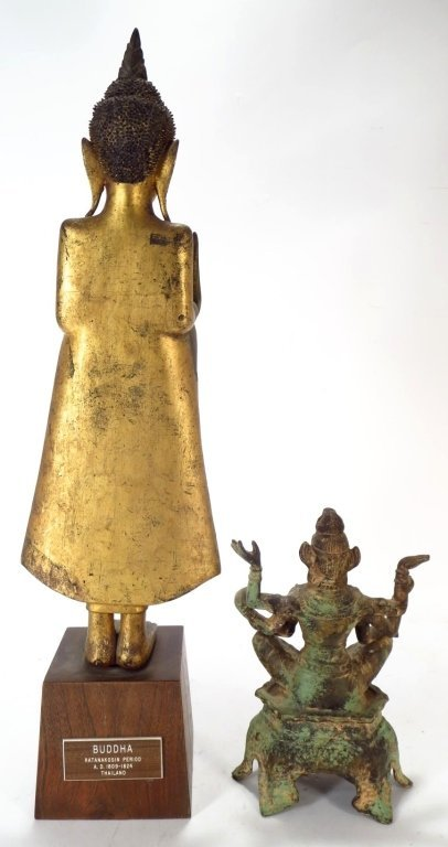 Lot of 2 Sculptures: Thai Buddha & Shiva 20th C. - 3