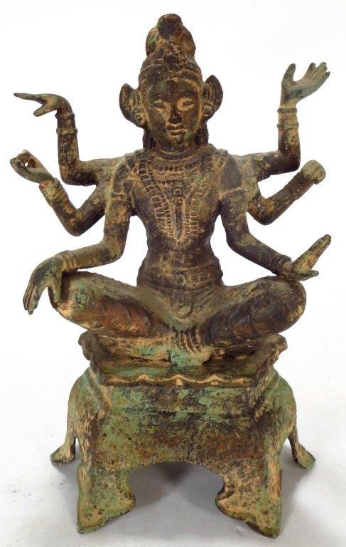 Lot of 2 Sculptures: Thai Buddha & Shiva 20th C. - 6