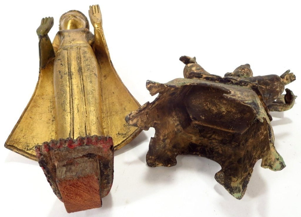 Lot of 2 Sculptures: Thai Buddha & Shiva 20th C. - 7