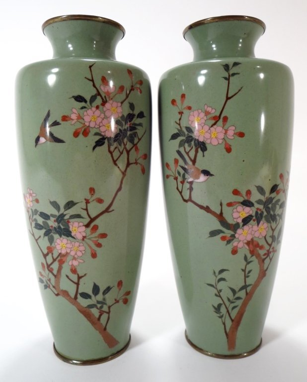 Pair of Cloisonne Vases, Asian, 20th C.