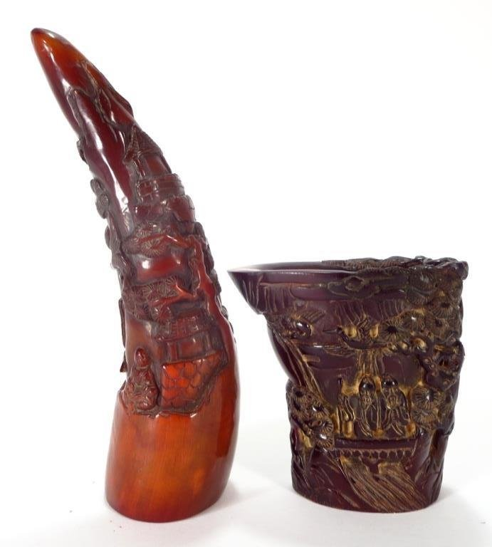 Asian Style Comp. Rhyton Cup & Horn Carving