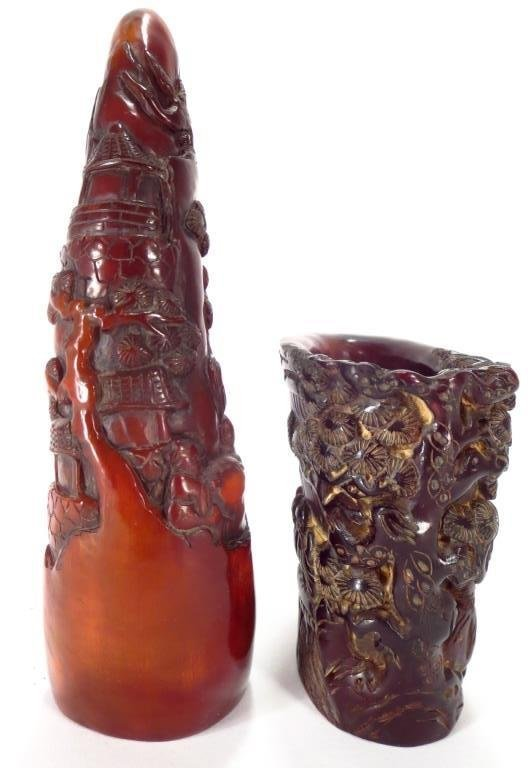 Asian Style Comp. Rhyton Cup & Horn Carving - 3