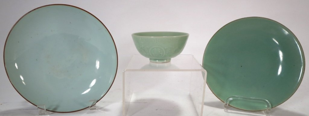 3 Chinese Celadon Porcelain Items, 19th-20th C.